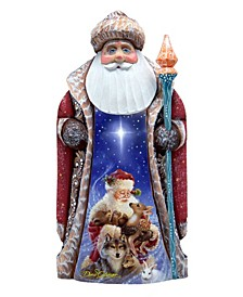 Woodcarved Hand Painted Santa Little Friends Figurine