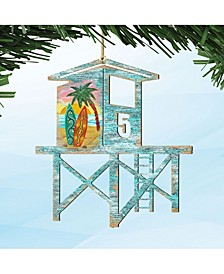 Beach Lifeguard Tower Wooden Ornaments, Set of 2