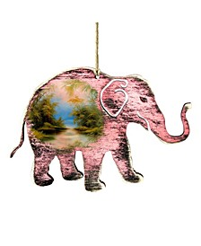 Rustic Elephant Wooden Ornaments, Set of 2