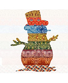 Country Quilted Snowman Wooden Ornament, Set of 2