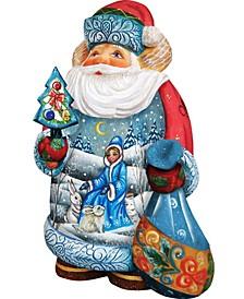 Hand Painted Snow Maiden Scene Santa Figurine