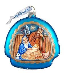 Manger Nativity Glass Ornament