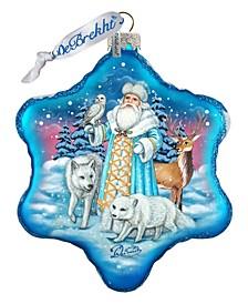 Santa Polar Story Snowflake Glass Ornament
