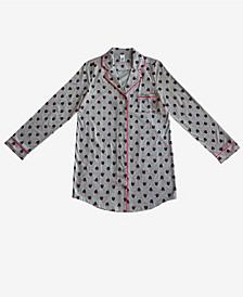 Minnie Mouse Notched Collar Button Down Women's Sleep Shirt