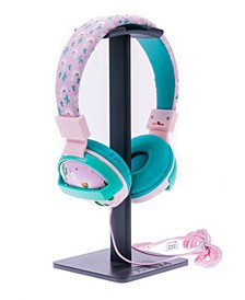 SafeSounds - Kids White Llama Printed Volume-Limiting Wired Headphones
