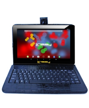 """Linsay 10.1"""" 1280 x 800 Ips Screen Quad Core 2GB Ram Tablet 16 Gb Android 6.0 with Crocodile Style Keyboard"""