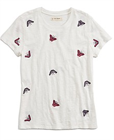 All Over Butterfly Embroidered T-Shirt
