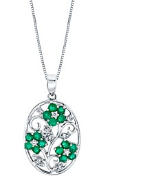 "Emerald (1-1/5 ct. t.w.) & Diamond (1/10 ct. t.w.) Flower 18"" Pendant Necklace in Sterling Silver"