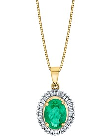 "Emerald (1-1/3 ct. t.w.) & Diamond (1/3 ct. t.w.) Halo 18"" Pendant Necklace in 14k Gold"