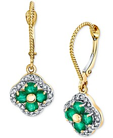 Emerald (7/8 ct. t.w.) & Diamond (1/3 ct. t.w.) Flower Drop Earrings in 14k Gold