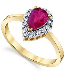 Ruby (7/8 ct. t.w.) & Diamond (1/4 ct. t.w.) Pear-Cut Halo Ring in 14k Gold