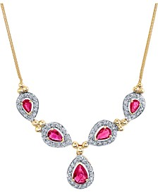 "Ruby (2-1/2 ct. t.w.) & Diamond (1/2 ct. t.w.) 16"" Statement Necklace in 14k Gold"