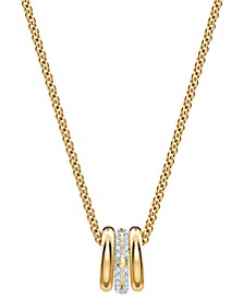 "Two-Tone Crystal Triple-Ring Pendant Necklace, 16-1/2"" + 2"" extender"