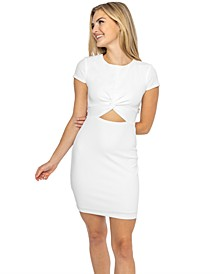 Juniors' Twist-Front Bodycon Dress