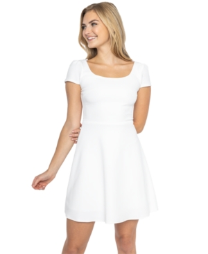 B Darlin Juniors' Cap-Sleeve A-Line Dress