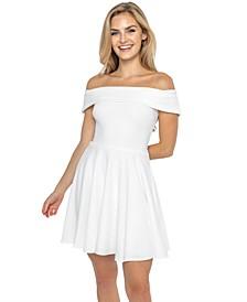Juniors' Off-The-Shoulder A-Line Dress
