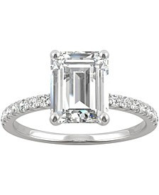 Moissanite (2-1/2 ct. t.w. DEW) Emerald-Cut Engagement Ring in 14k White Gold