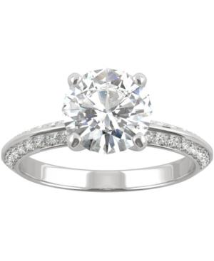 Moissanite Knife-Edge Engagement Ring (2-1/4 ct. t.w. Dew) in 14k White Gold