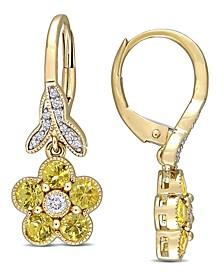 Yellow Sapphire (1-1/5 ct. t.w.) & Diamond (1/7 ct. t.w.) Flower Drop Earrings in 10k Gold