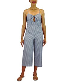 Juniors' Cotton Tie-Front Striped Jumpsuit