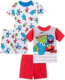 Sesame Street Toddler Boy Cotton 4 Piece Pajama Set