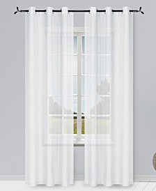 "Solid Semi-Sheer 76"" x 96"" Grommet Curtain Panel, Set of 2"