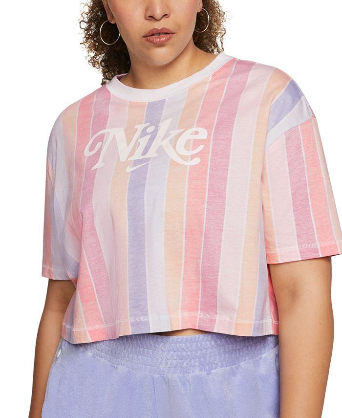 Nike - Plus Size Cotton Striped Cropped T-Shirt