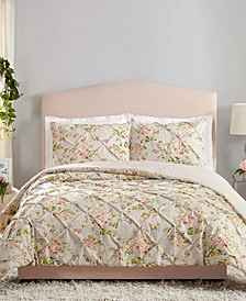 Mils Floral Pinch Pleat Full/Queen 3-Piece Comforter Set