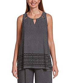 Moonstone Geo Border Print Sleeveless Top with Pleats and Hardware