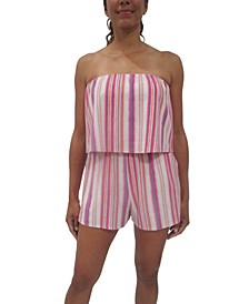 Juniors' Striped Popover Romper