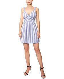 Striped Twist-Front A-Line Dress