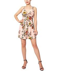 Floral-Print Twist-Front A-Line Dress