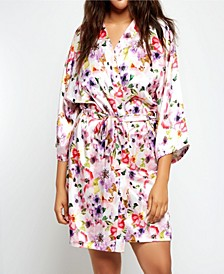 Plus Size Ella Floral Print Satin Robe, Online Only