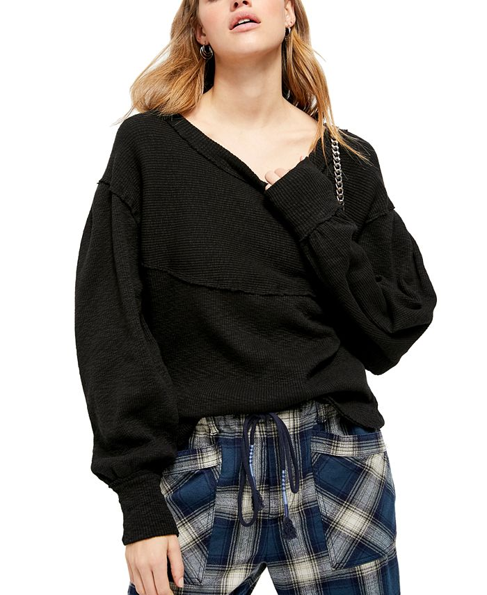 Free People - Ribbed Balloon-Sleeve Top