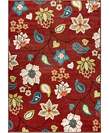 "Terrace Garden Chintz Red 5'2"" x 7'6"" Area Rug"