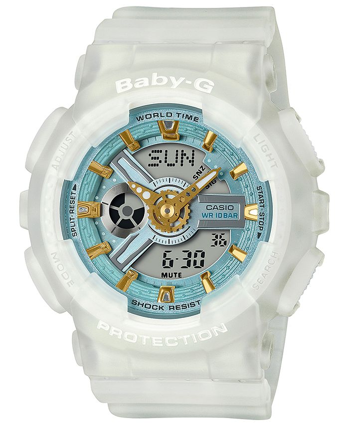 G-Shock - Women's Analog-Digital Frosted White Resin Strap Watch 43.4mm