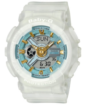 Baby-g Women's Analog-Digital Frosted White Resin Strap Watch 43.4mm