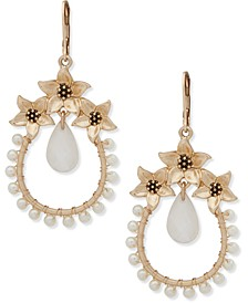 Gold-Tone Stone & Flower Teardrop Drop Earrings