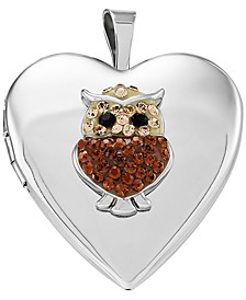 Swarovski Crystal Owl Locket Pendant in Sterling Silver