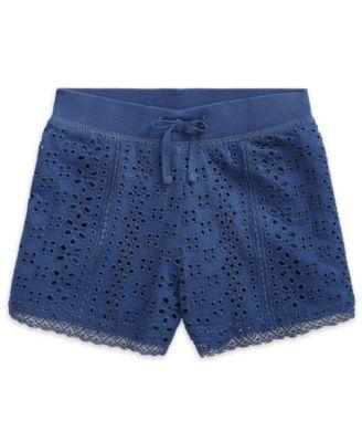 폴로 랄프로렌 여아용 반바지 Polo Ralph Lauren Toddler Girls Eyelet Lace Jersey Cotton Shorts,Federal Blue