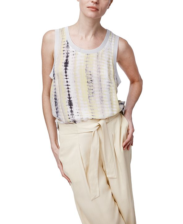 b new york Printed High-Low Tank Top