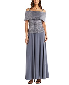 Cold-Shoulder Sequinned Gown