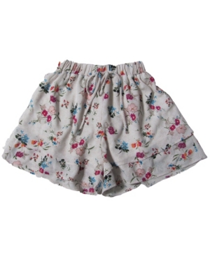 Monteau Big Girls Tiered Faux Tie Front Printed Short