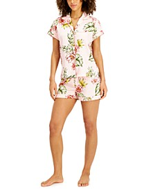 Tropical Floral Satin Pajama Shorts Set, Created for Macy's
