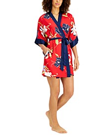 INC Contrast-Trim Floral Satin Wrap Robe, Created for Macy's