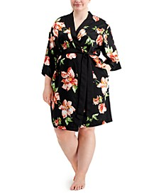 INC Plus Size Floral-Print Satin Wrap Robe, Created for Macy's