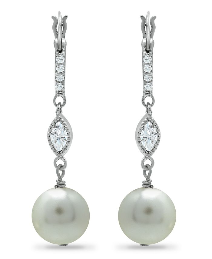 Macy's - Imitation Pearl Cubic Zirconia Art Deco Linear Earrings Crafted in Fine Silver Plate