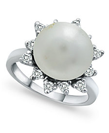 Imitation Pearl and Cubic Zirconia Halo Ring in Fine Silver Plate