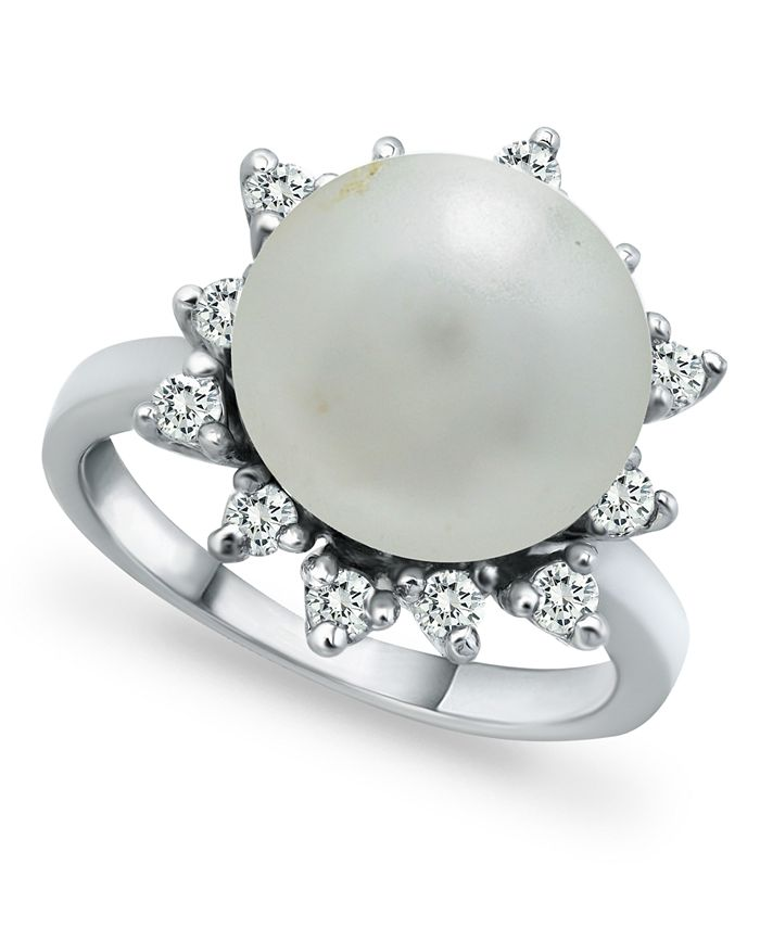 Macy's - Imitation Pearl and Cubic Zirconia Halo Ring in Fine Silver Plate