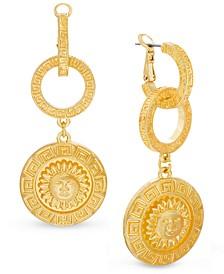 Gold-Tone Linked Hoop & Sun Disc Drop Earrings